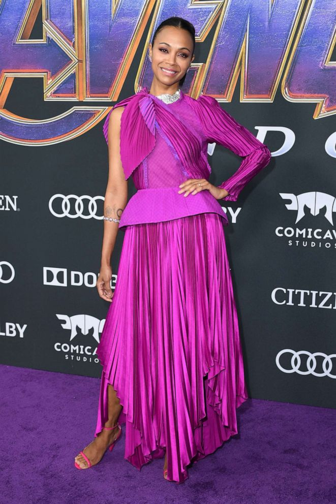 PHOTO: Zoe Saldana arrives for the World premiere of Marvel Studios Avengers: Endgame at the Los Angeles Convention Center on April 22, 2019 in Los Angeles.