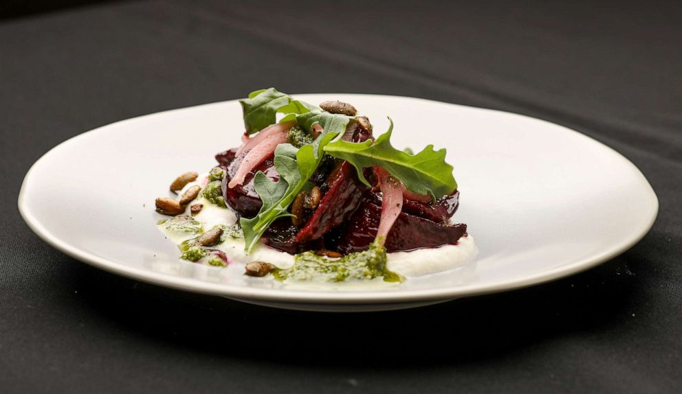 PHOTO: Ember roasted beet salad with whipped queso fresco and cilantro-cotija pesto