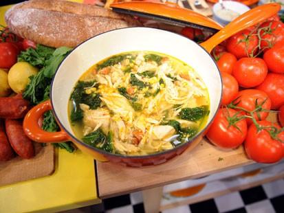 Chicken and chorizo with mustard greens