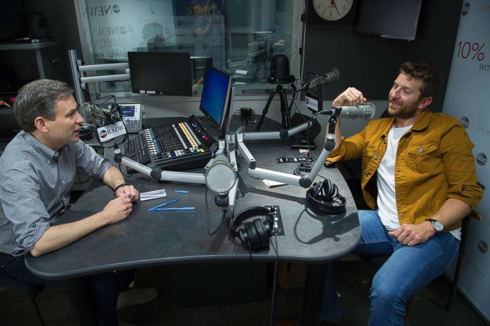Brett Eldredge (right) is seen here during an interview for the 10% Happier podcast with ABCs Dan Harris (left) on Aug. 22, 2018.