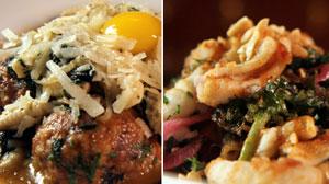 PHOTO duck meatballs and calamari salad