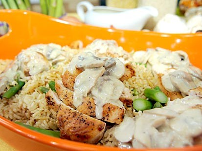 Chicken Fans With Tarragon-Cream Sauce and Rice Pilaf with Asparagus