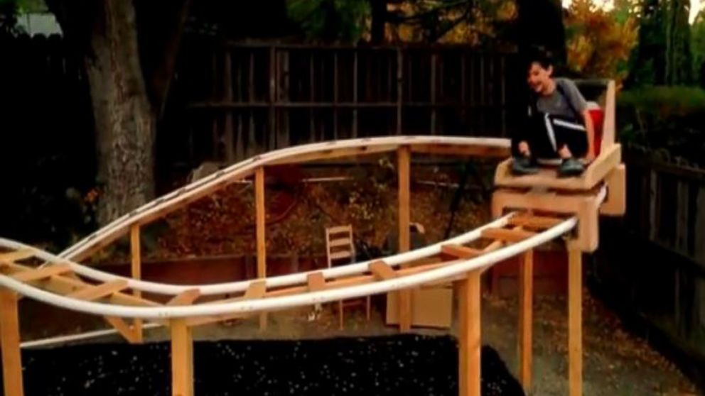Will Pembles son, Lyle, 10, took test rides during phase 1 of construction.  California Dad Builds Backyard Roller Coaster - Calif. Father-Son Team Build Roller Coaster In Their Backyard - ABC News