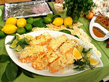 Roasted Salmon with Hot Mustard Cracker Topping