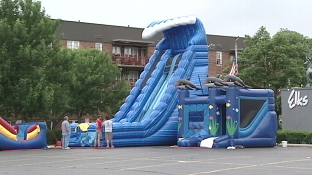 VIDEO: Thirteen children were injured when an inflatable bounce house went soaring.