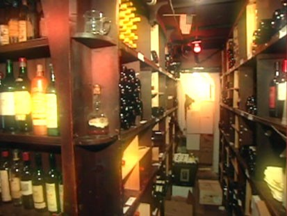 A picture of the secret wine cellar in The 21 Club.