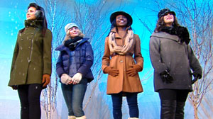 PHOTO Four models show off coats fashionable for office, evening, weekends and every day.