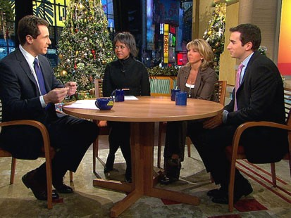 A picture of Mellody Hobson, Liz Anne Sonders and Andrew Ross Sorkin.