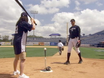 VIDEO: Juju Chang gets some much needed help with hitting from Alex Rodriguez.