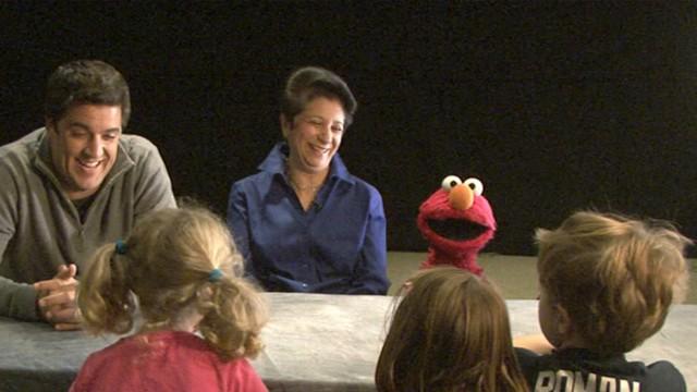 Elmo Calms Children Frightened by Superstorm Sandy
