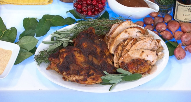 Food Network star shows how to wow a crowd with cedar plank roasted turkey and gravy.