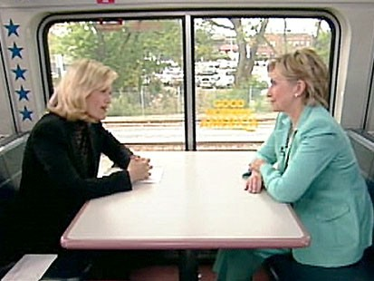 A picture of Diane Sawyer interviewing Hillary Clinton.