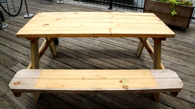 How To Spruce Up Your Boring Old Picnic Table Video ABC News - How to stain a picnic table