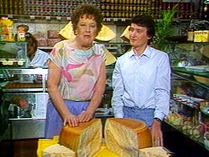 VIDEO: While in Italy, Julia Child prepares pasta and meets makers of parmesan cheese.
