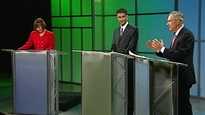 VIDEO: Tea Party candidate and Senate majority leader clash in Senate race debate.