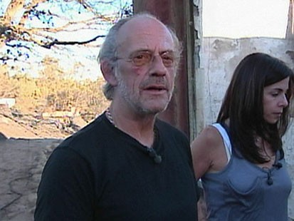 A picture of Christopher Lloyd in his burned house.