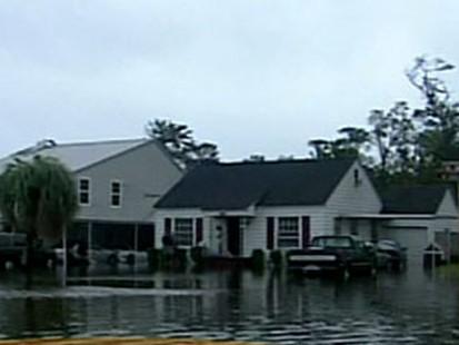 Flooded homes in Orange
