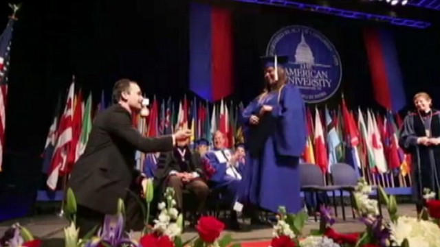VIDEO: One American University graduate asks a fellow graduate to marry him.