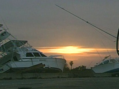 Hurricane damaged boats