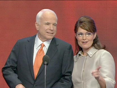 A picture of John McCain and Sarah Palin.