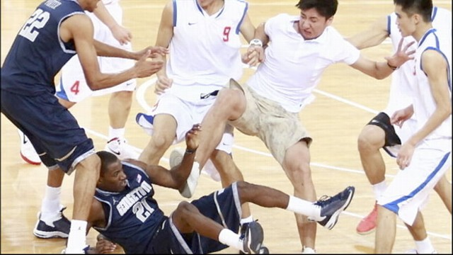 VIDEO: A fight broke out in China between Georgetowns Mens team and the Chinese team.