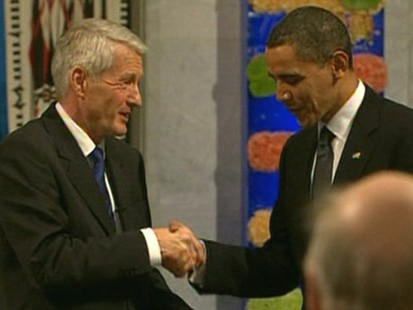 VIDEO: The president accepts the peace prize many believe he does not deserve.