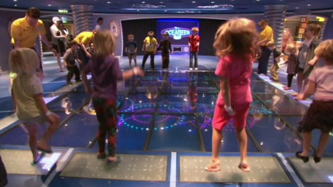 VIDEO: The brand new ship includes high-tech games and Broadway-style shows.