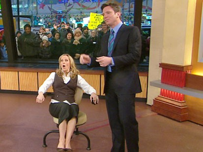 VIDEO: Becky Worley sitting on an infomercial exercise chair.