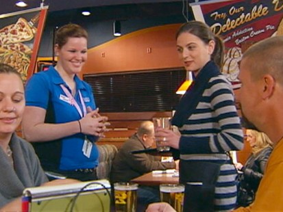 VIDEO: The GMA Weekend anchor goes to work with a waitress holding down two jobs.