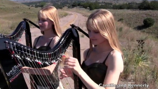 """VIDEO: Identical twins Camille and Kennerly Kitt play """"Sweet Child o Mine"""" on their harps."""