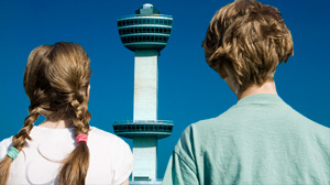A child was caught on tape directing air traffic from a control tower at JFK airport in New York.