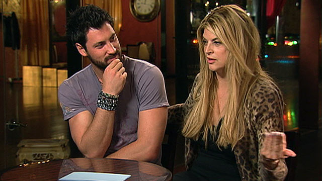 """PHOTO:Kirstie Alley and partner Maksim Chmerkovskiy talk about """"Dancing with the Stars,"""" April 22, 2011."""