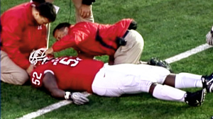 PHOTO Rutgers defensive tackle Eric LeGrand was paralyzed below the neck after making a tackle during the Scarlet Knights game against Army, and he will remain hospitalized for the near future.
