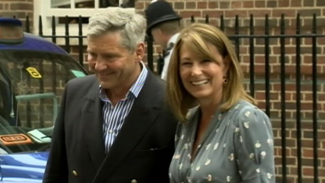 VIDEO: Carole and Michael Middleton comment to press after first visit with their grandchild.
