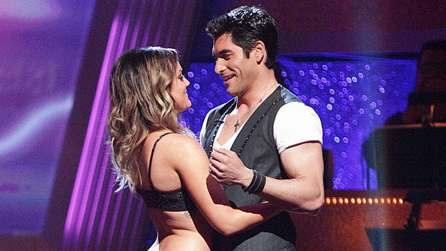 "PHOTO Mike Catherwood and Lacey Schwimmer were the first couple eliminated from the competition on the 12th season premiere of ""Dancing with the Stars the Results Show,"" March 29, 2011."