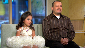 """PHOTO Alex Salazar, 33, and his 6-year-old daughter Emily visit """"Good Morning America"""" to talk about what its like to be an increasingly more common """"Pageant Dad"""" on the pageant circuit."""