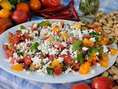 Marcus Samuelssons Tomato and Watermelon Salad with Almond Vinaigrette