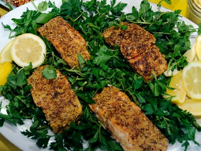 PHOTO Mustard and Coriander?Crusted Salmon with Watercress