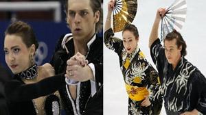 Skaters representing Georgia and Japan.