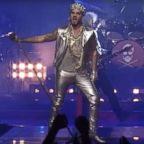 Adam Lambert is pictured in this image made from a promotional video on his performance with Queen at this year's Oscars.