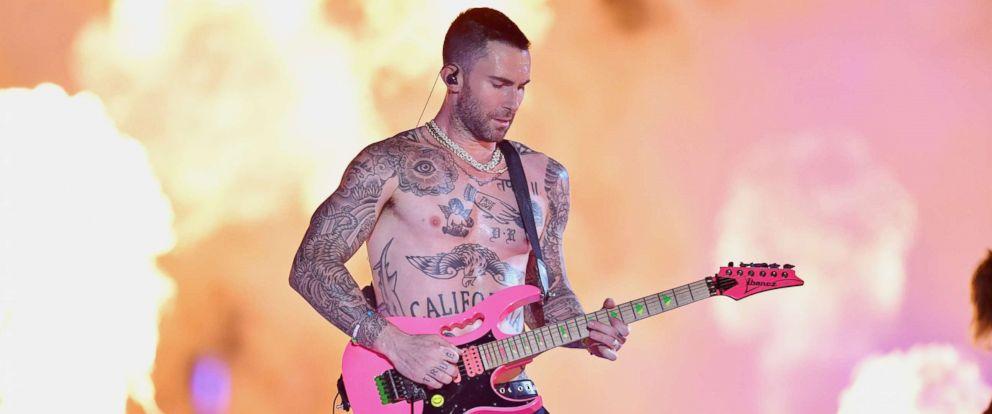 PHOTO: Adam Levine of Maroon 5 performs during the Pepsi Super Bowl LIII Halftime Show at Mercedes-Benz Stadium in Atlanta, Feb. 3, 2019.