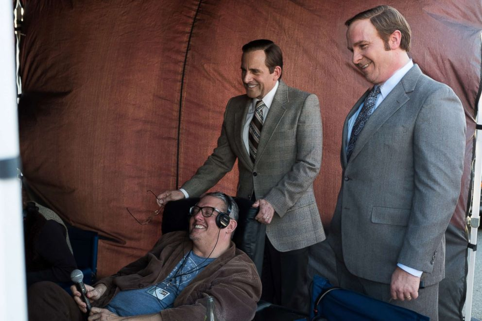 "Director Adam McKay and actors Steve Carell and Christian Bale on the set of the 2018 film, ""Vice."""
