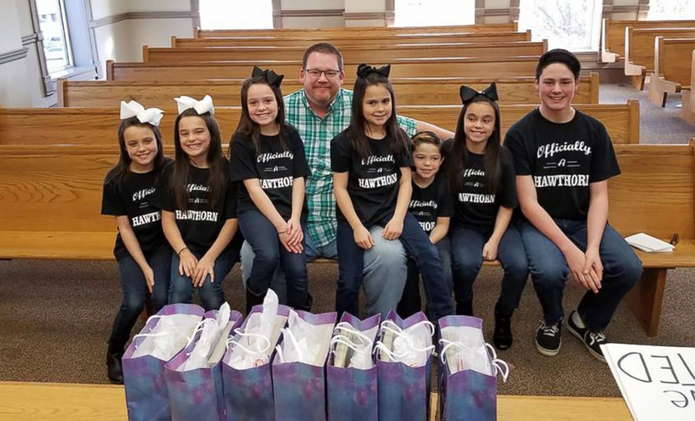 PHOTO: Dawson, 15, Kyndal, 11, Lacey, 10, Layna, 10, Addiley, 9, Arria, 9 and Nixson Hawthorn, 8, were officially adopted by Michael and Terri Hawthorn of Hot Springs, Arkansas, on Dec. 3.