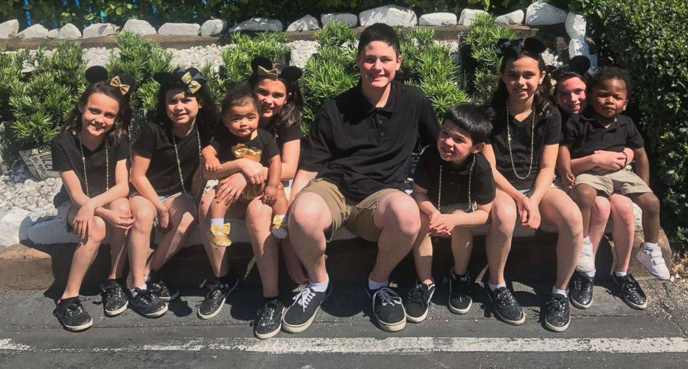 PHOTO: Siblings Dawson, 15, Kyndal, 11, Lacey, 10, Layna, 10, Addiley, 9, Arria, 9 and Nixson Hawthorn, 8, were officially adopted by Michael and Terri Hawthorn of Hot Springs, Arkansas, on Dec. 3. Haizlee, 1, and Korgen, 3, were adopted months prior.