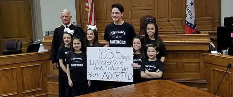 PHOTO: The Hawthorn family of Hot Springs, Arkansas, officially grew by 7 children with the adoption of Dawson, 15, Kyndal, 11, Lacey, 10, Layna, 10, Addiley, 9, Arria, 9 and Nixson, 8.