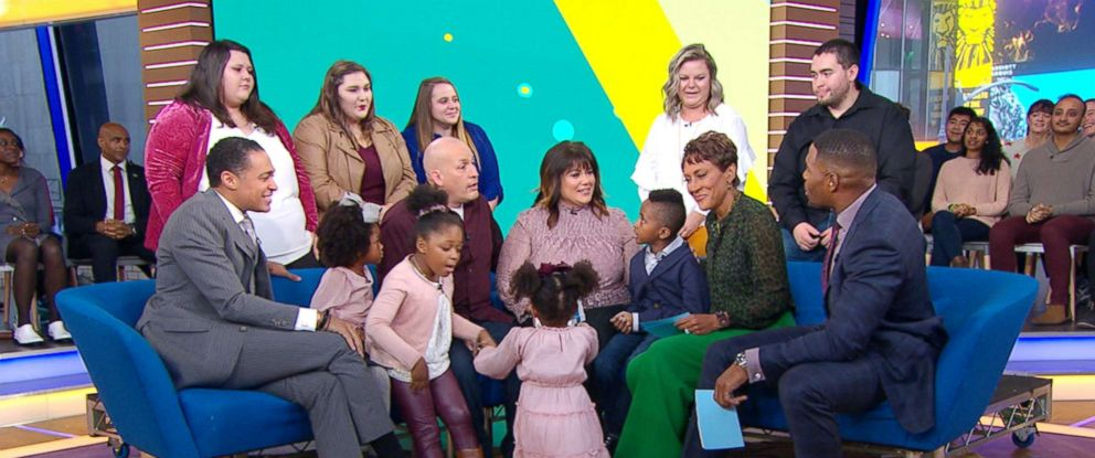 "PHOTO:The Beauchenes family, Michelle, Don, Don, Dustin, Hilary, Regan, Brittany, Maddie, Lily, Lucy, London and Brooklyn appeared on ""Good Morning America"" on Nov. 6, 2018."