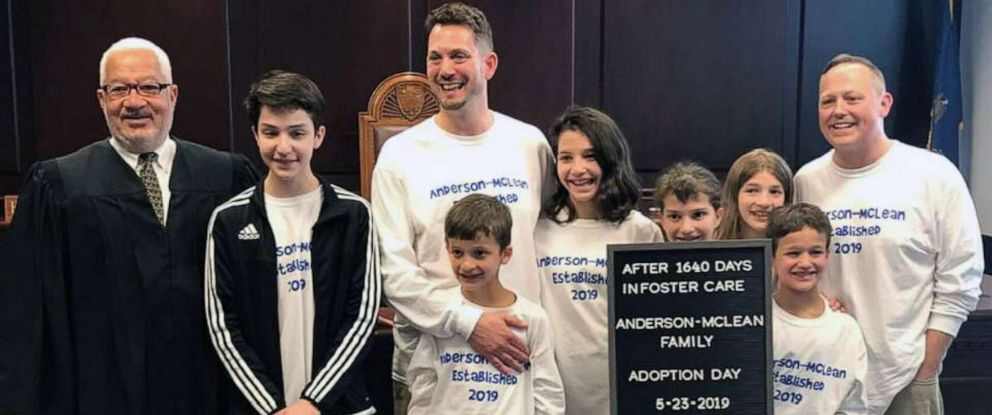 PHOTO: Steve Anderson-McLean and Rob Anderson-McLean of Pennsylvania, adopted Carlos, 14, Guadalupe, 13, Maria, 12, Selena, 10, Nasa, 9 and Max, 7, on May 23, 2019, after the siblings had spent 4.5 years in foster care.