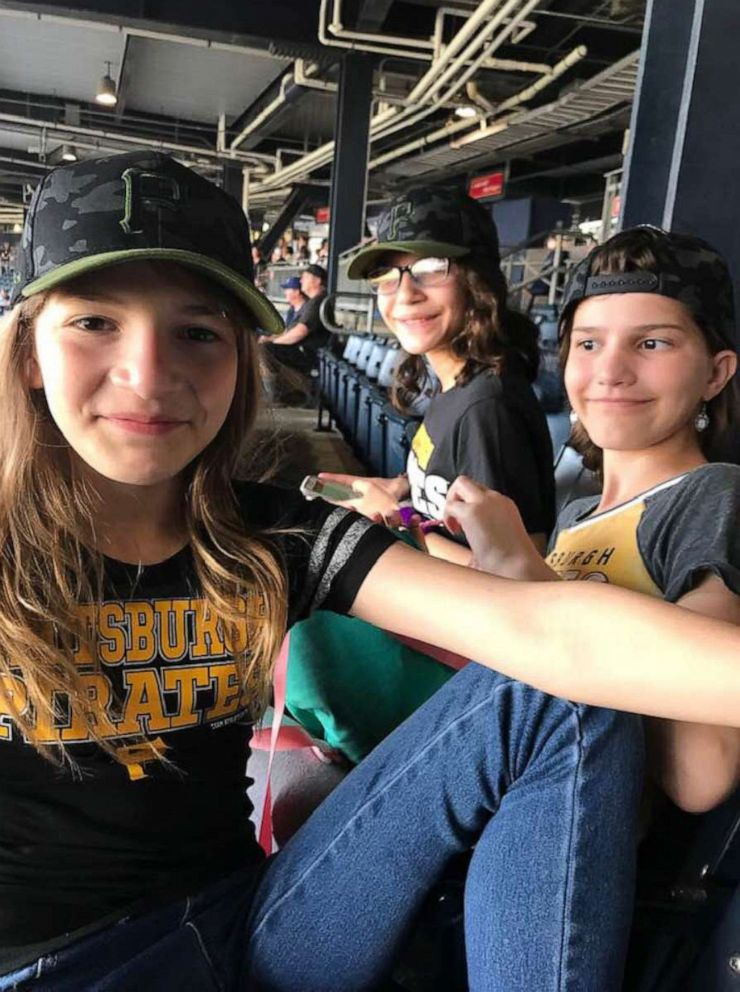 PHOTO: Sisters Guadalupe, 13, Maria, 12 and Selena Anderson-McLean, 10, pose in an undated photo at a Pirates baseball game in Pennsylvania.