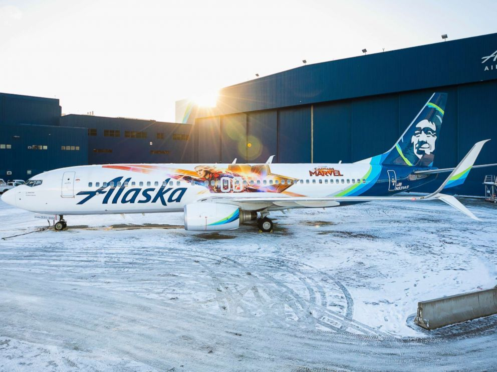 PHOTO: Alaska Airlines has unveiled a special-edition plane featuring Marvel Studios first female super hero lead, Captain Marvel.
