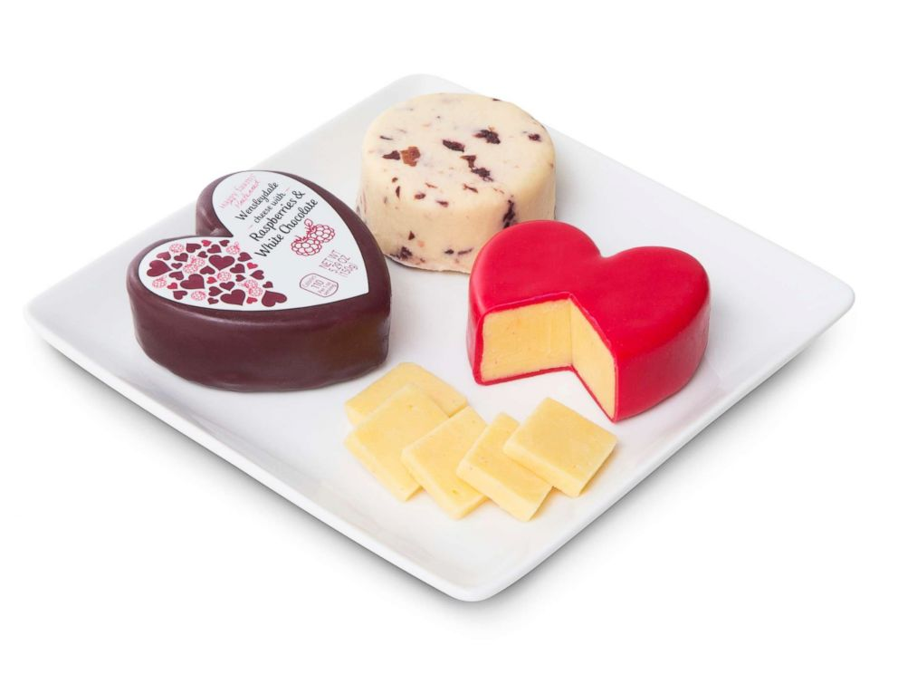 PHOTO: Aldi is releasing for a limited time heart-shaped Happy Farms Preferred Mature Cheddar Classic English Cheese and Happy Farms Preferred Wensleydale with Cranberries at select Aldi locations from Jan. 30, 2019.
